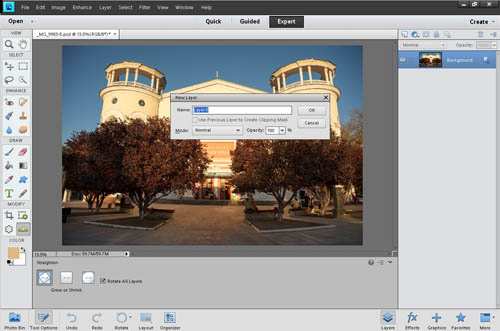 Renaming the background layer to convert it into a standard layer