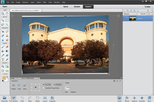Using the perspective transform tool to correct the perspective distortion