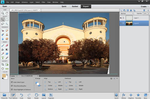 Using the move tool to center the image