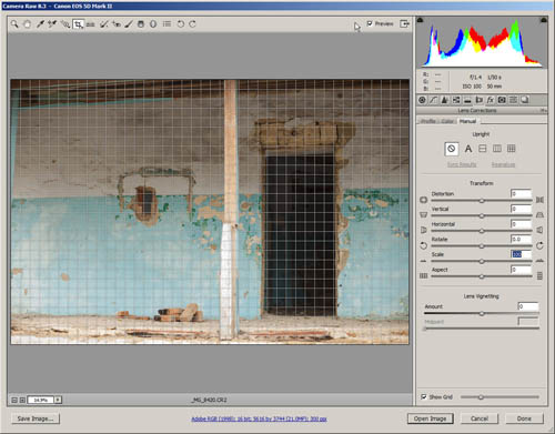 Image with horizontal perspective distortion open in ACR with lens corrections tab open and grid displayed