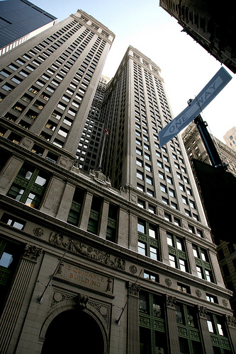 Tall buildings form converging lines when looking up, example of perspective distortion