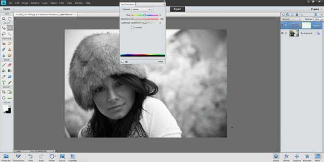 Using a hue / saturation adjustment layer to desaturate the image