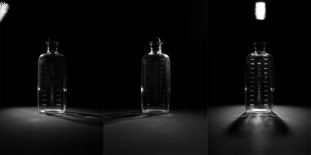 Three images of a glass bottle photographed with the lighting in a different position for each image