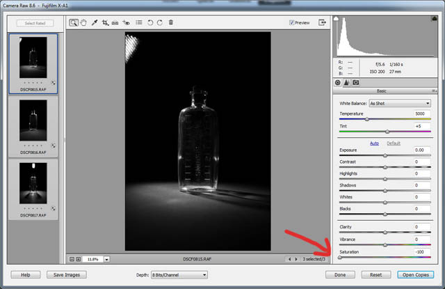 Desaturating an image in Adobe Camera RAW
