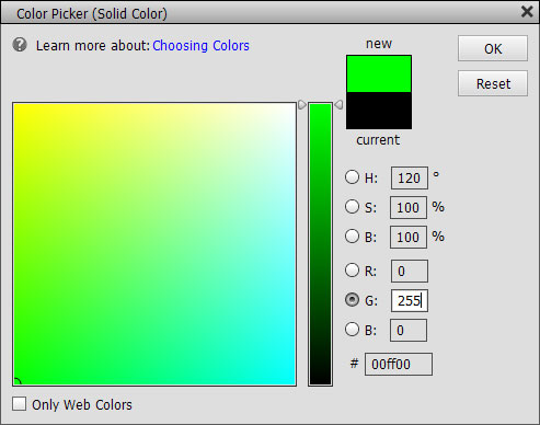 Pure green color chosen in the color fill layer options