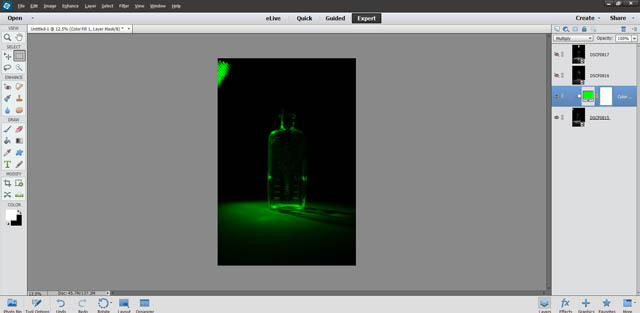 Green color fill layer set to multiply blend mode