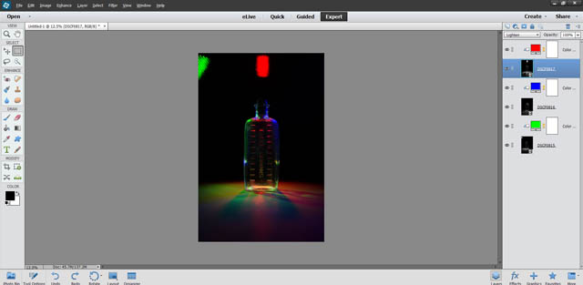 Image with all color fill layers created and blending modes set to create the multicolored lighting effect