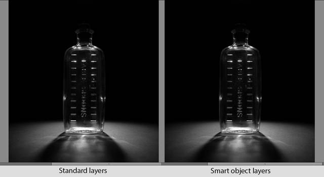 Standard 'raster' layer (left) and Smart object layer (right) resized down to 500px height then back up to 1080px height. The smart object uses the full sized image, so no image quality is lost when resizing down then up again.