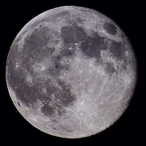 Full moon photographed using a 300mm telephoto lens with 1.4X teleconverter and High Speed Crop Mode (cropped in-camera)