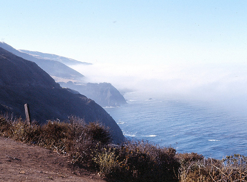 Fog Retreats from Big Sur, CA Hwy 1, 1976