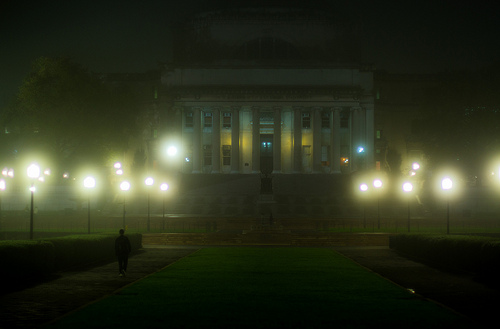 Lights at night in the fog