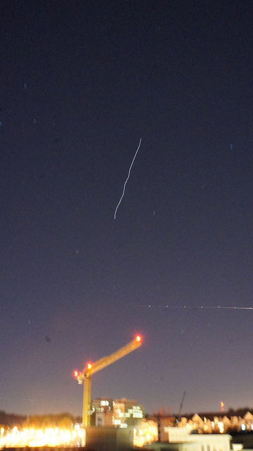 ISS Flyover 2012 Oct 11 - long exposure photo with blurring / shake in the image caused by vibrations from passing cars