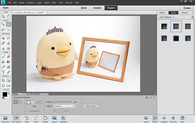 Applying an inner shadow to the top layer in Photoshop Elements