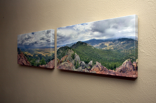 Panoramic photo printed over two canvases and displayed on a wall