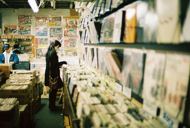 Record shop - photographed using a film camera with fixed focal length prime lens