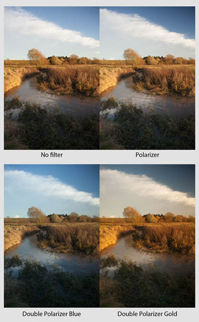Comparison showing how use of a polarizer or gold 'n' blue polarizer can affect an image. The top left image was taken with no filter. The top right image was taken with a polarizer filter and has a deeper blue sky. The bottom images were taken with stacked circular polarizing filters, which can provide a gold or blue effect depending on how they are rotated. The bottom left image was rotated to give a blue tone, while the bottom right image was rotated to give a gold tone.