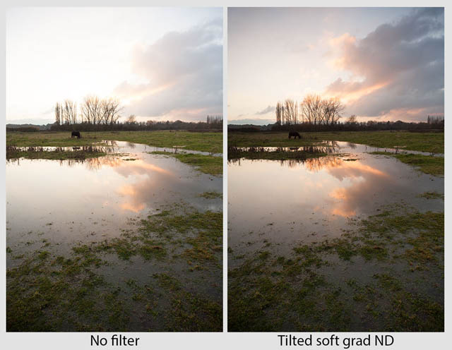 Landscape where the top left corner of the frame is much brighter than the rest of the image. On the left is a version taken with no filter. On the right shows an image taken using a tilted soft graduated neutral density filter positioned so the darkest part of the filter covers the brightest part of the sky, thus evening out the exposure.