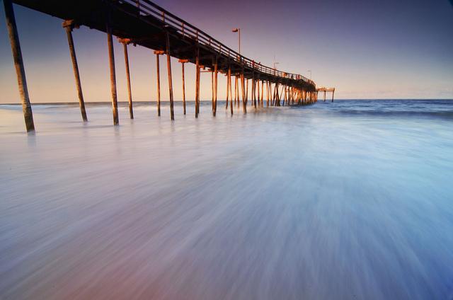 Avon Pier, Hatteras Island, North Carolina, photographed using a Singh Ray Gold-N-Blue Polarizer filter