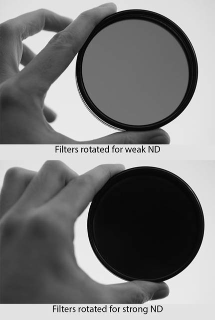 Comparison between a DIY variable neutral density filter comprised of a circular polarizer with another circular polarizer reversed on top rotated for a weak ND effect (top) and for a strong ND effect (bottom). The filter clearly appears much darker in the bottom image.