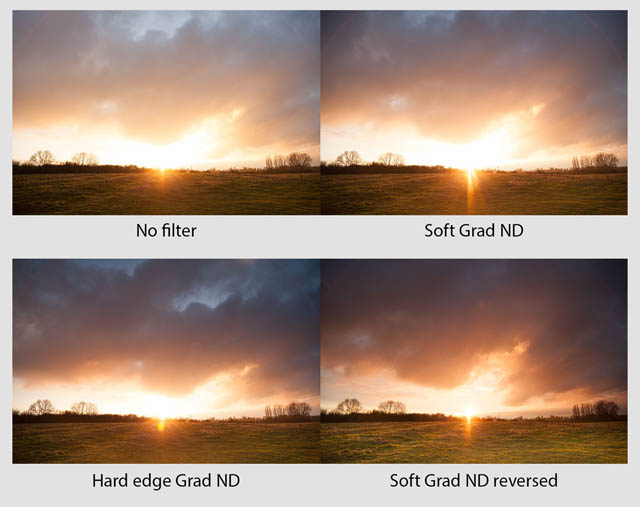 Comparison between four images. The top left was taken with no filter and is blown out around the sun. The top right was taken with a soft graduated neutral density filter, the area around the sun is still blown out, and the area near the top of the frame is darker. The bottom left was taken with a hard edge split neutral density filter, there is a bit more detail around the sun. The bottom right was taken with a reversed soft graduated neutral density filter, the detail around the sun is good, the top of the frame is quite dark.