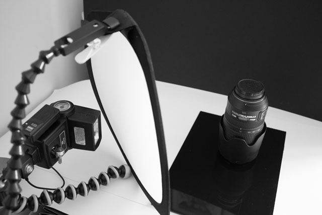 Example setup for a low key style photo of a camera lens