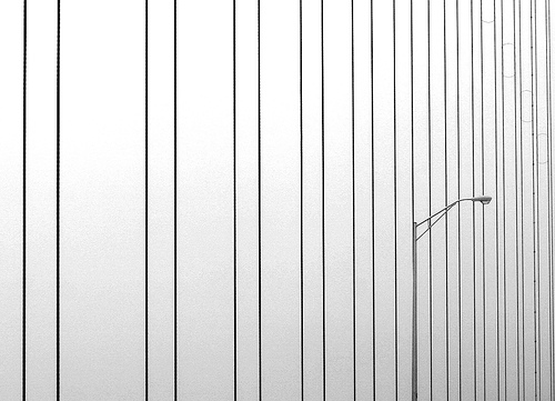 Black and white minimalist photo of a lampost amongst lines of cable supports on a bridge