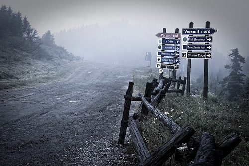 Mountain track in misty / foggy conditions