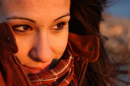 Portrait photo taken in the soft warm light of sunset