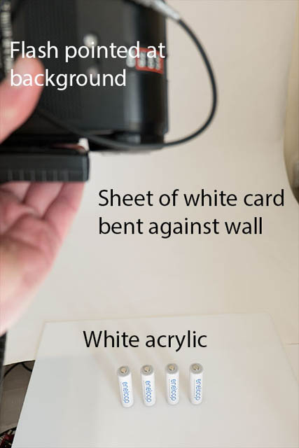 Basic setup for photographing a white subject on a white background. White card curved against a wall for a background. Subject on a sheet of white acrylic. Speedlight flash used to light the background behind the subject.
