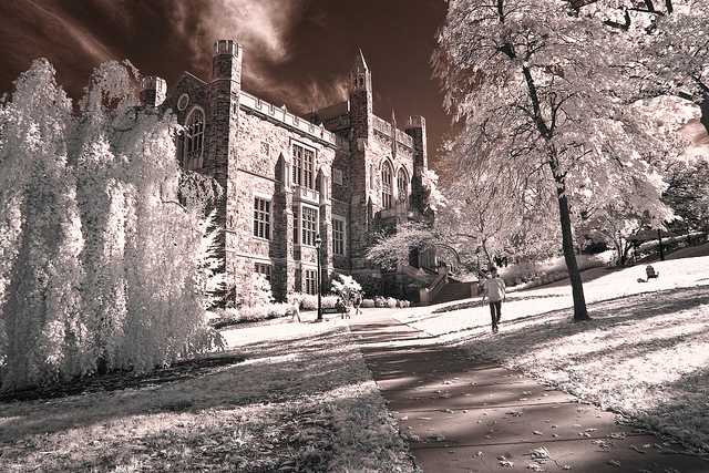 Infrared photograph of the Linderman Library, Lehigh University