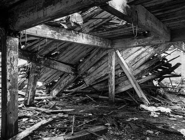 Building with floor fallen in