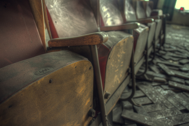 Row of seats in an abandoned theater