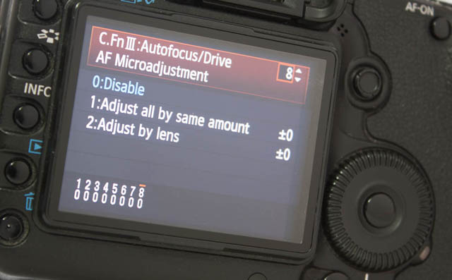 Example of the AF Microadjustment setting screen on a Canon camera