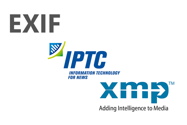 EXIF, IPTC, and XMP - all types of metadata that can be stored in a digital photo