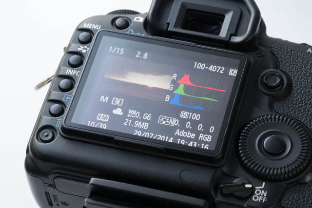 Image review playback on camera showing some EXIF data such as Shutter speed, Aperture, ISO, Metering mode, White balance