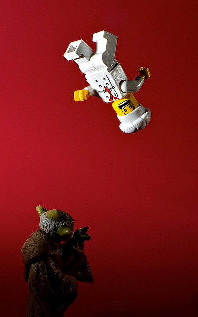 When Yoda Gets Hungry.... - small toy models lit by closely placed speedlights set to 1/128 and 1/64 power
