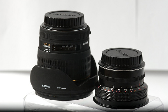 20mm Duel - Sigma vs. Flektogon. The Sigma lens is much larger and heavier than the older Carl Zeiss Jena Flektogon lens.