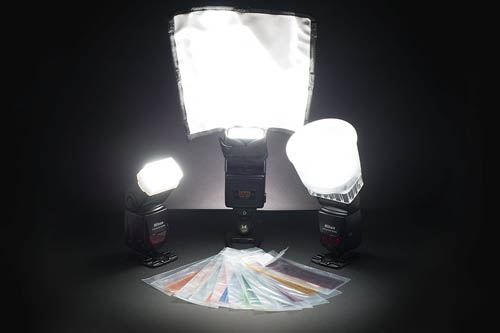 Flashes with light modifiers