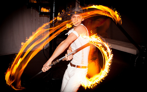 Fire Dancer photographed using rear curtain sync flash