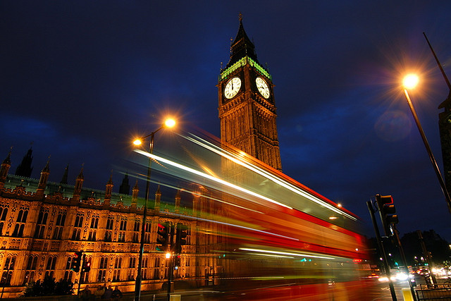 Houses of Parliament and Big Ben at night, long exposure photo captured using a remote shutter release