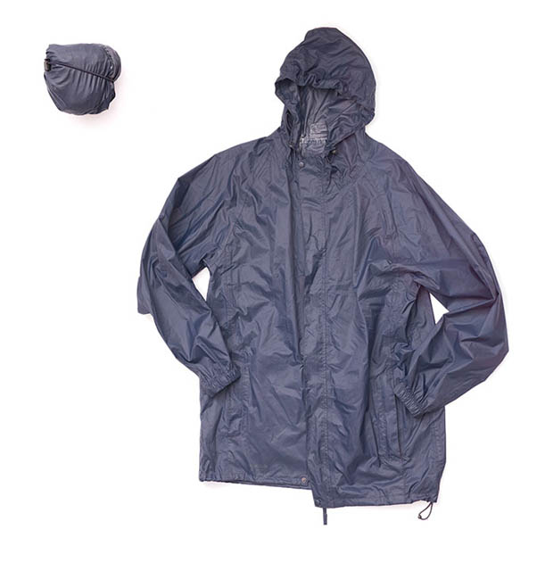 A pack-up rain jacket doesn't take up a lot of room and is handy in the event of a shower