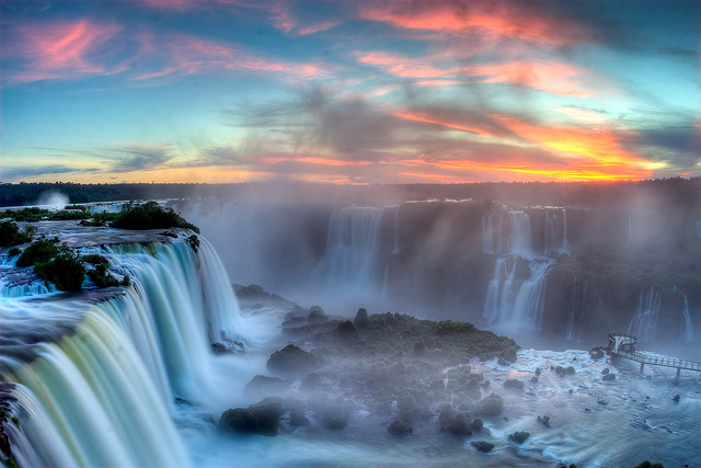 Sunset over Iguazu waterfalls - HDR image where the camera was mounted on a tripod and a remote cable release was used for taking the bracketed shots.