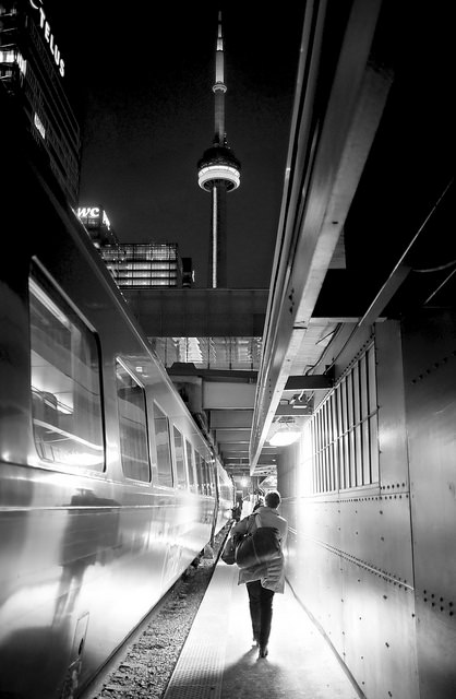 Last train to Toronto - Photo taken using user set aperture and shutter speed, with auto ISO