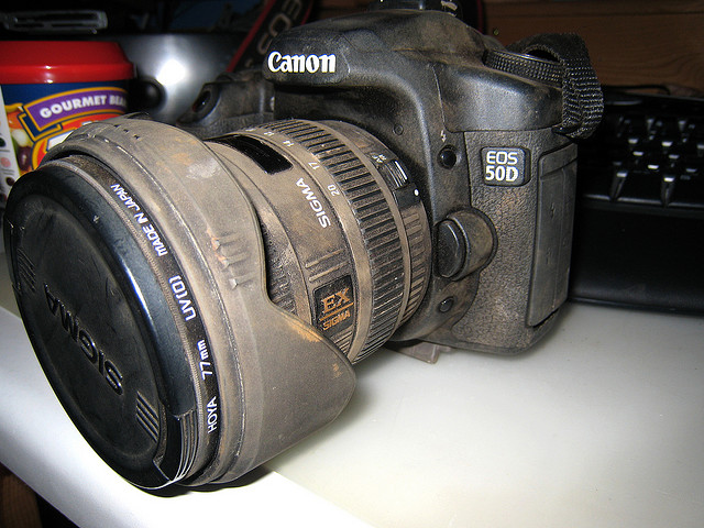 Dirt and dust covered camera