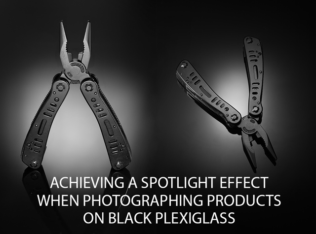 Achieving a spotlight effect when photographing products on black plexiglass