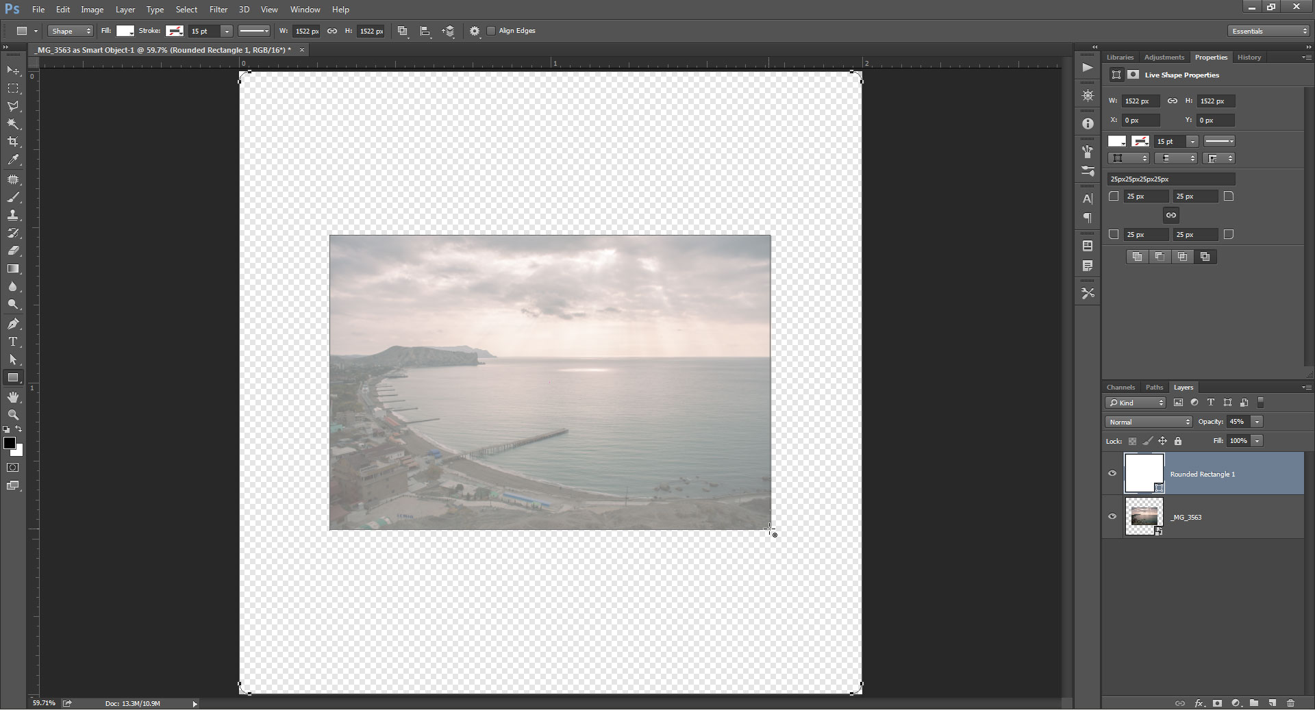 Add a 35mm transparency slide frame border to a photo using drawing a rectangle in the middle of the slide layer where the photo should show through baditri Images