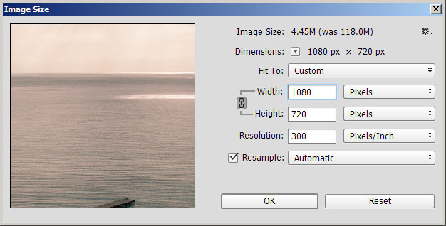Resizing (with resampling) the image down to a suitable screen display size