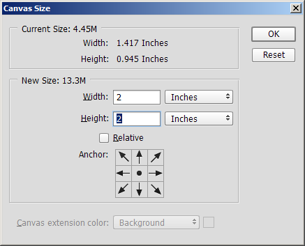 Setting the canvas size to 2 inches square
