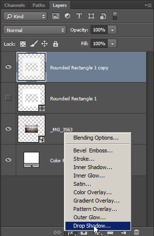 Adding a drop shadow in Photoshop CC / CS