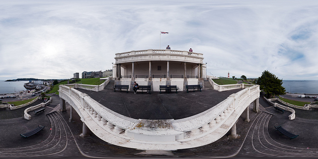 360° panorama taken over the edge of a building using camera extended out on a monopod